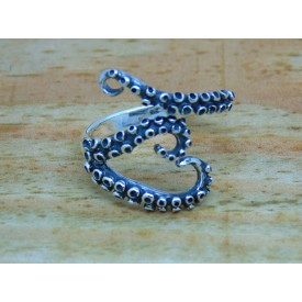 Sterling Silver Octopus Tentacle Heart Ring