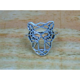 Sterling Silver Geometric Tiger Ring