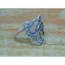 Sterling Silver Geometric Tiger Ring