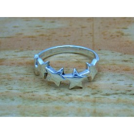 Sterling Silver 5 Star Ring