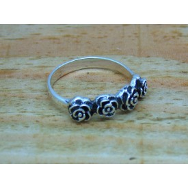 Sterling Silver 4 Rose Ring