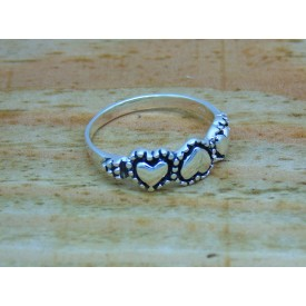 Sterling Silver 3 Heart Ring