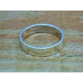Sterling Silver 5mm Hammered Ring