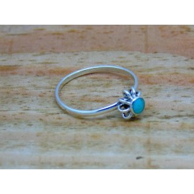 Sterling Silver Turquoise Flower Stacking Ring