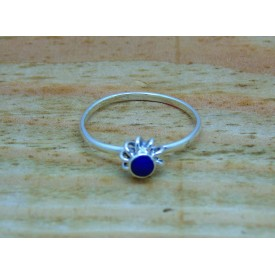 Sterling Silver Blue Flower Ring
