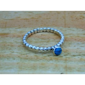 Sterling Silver Beaded Stone Set Ring