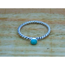 Sterling Silver Turquoise Twisted Ring
