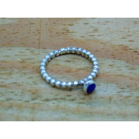 Beaded Blue Stone Stacking Ring