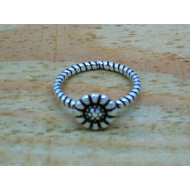 Sterling Silver Decorative Oxidised Flower Ring