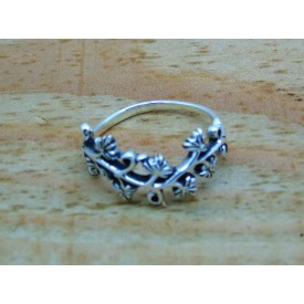 Sterling Silver Branch and Leaf Ring