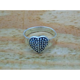 Sterling Silver Pimpled Heart Ring