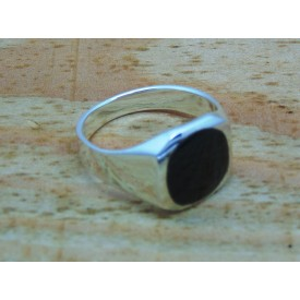 Sterling Silver Round Onyx Signet Ring