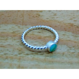 Sterling Silver 5.8mm Turquoise Twisted Ring