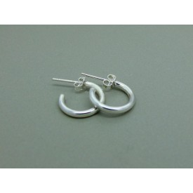 Sterling Silver 14mm Hoop Stud Plain